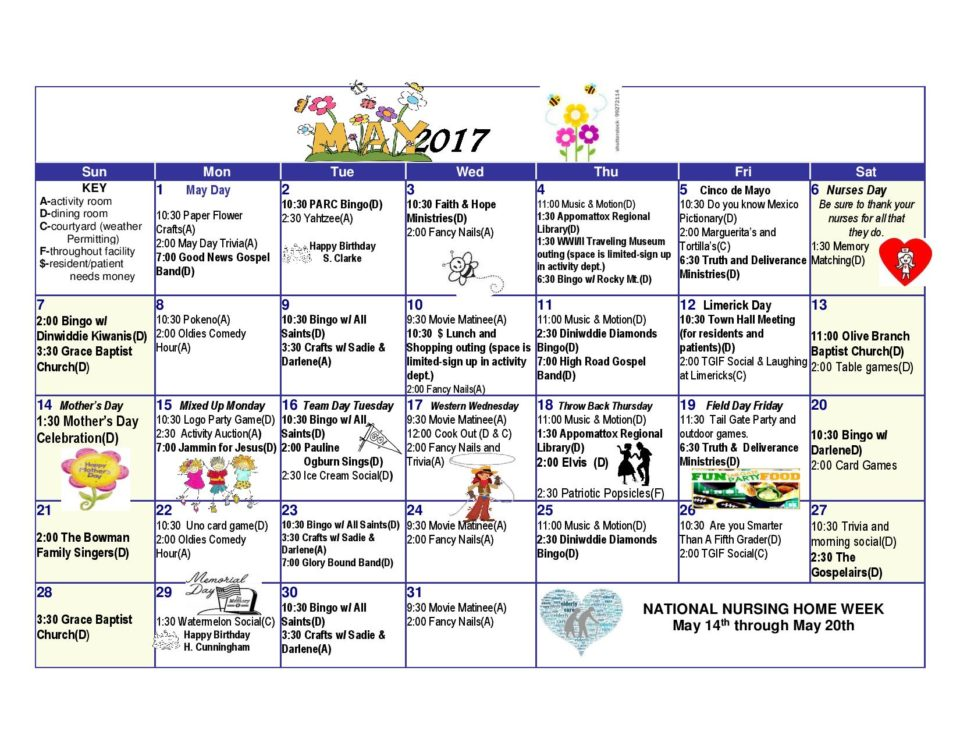 Dinwiddie Health  Rehab Center  Activities Calendar May