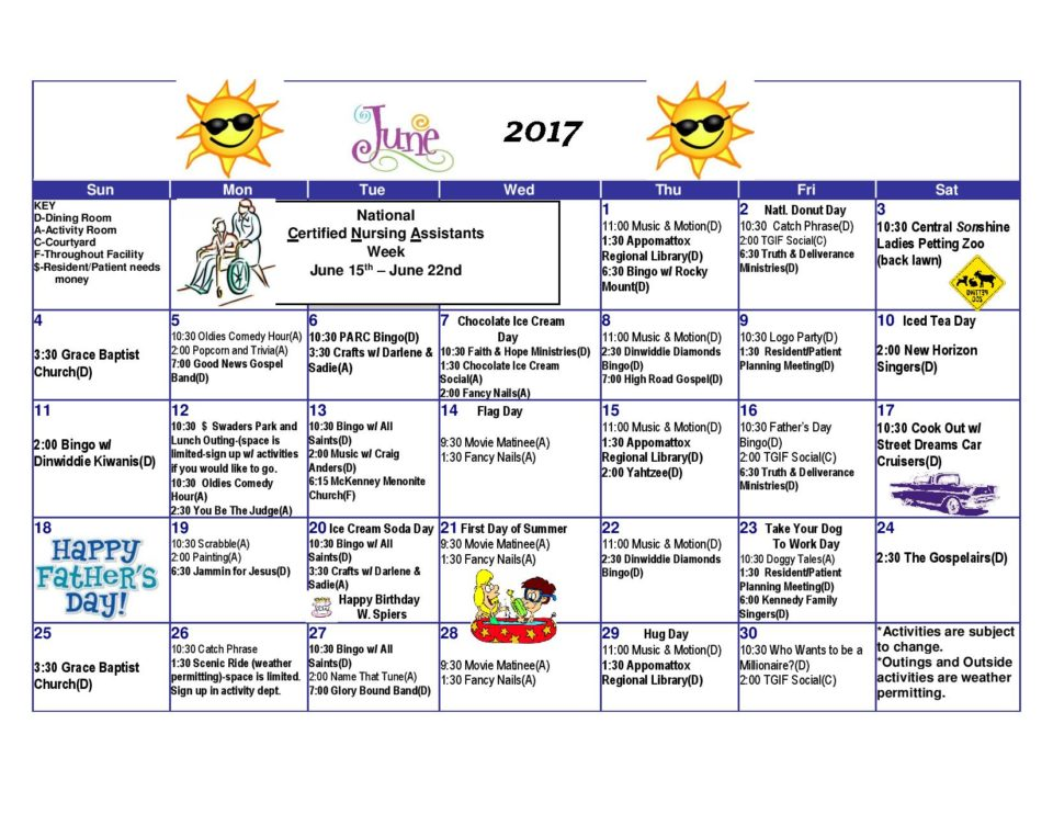 Dinwiddie Health  Rehab Center  Activities Calendar June